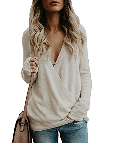eb04395937608 VOIANLIMO Women s Off Shoulder Knit Jumper Long Sleeve Pullover ...