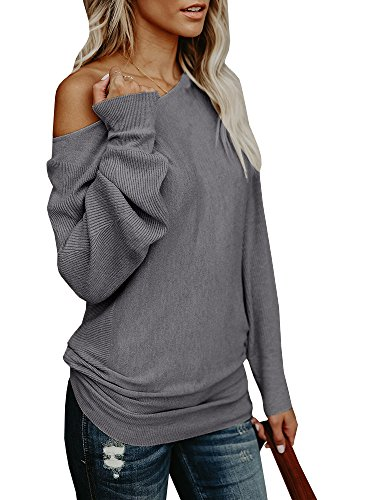 VOIANLIMO Women s Off Shoulder Knit Jumper Long Sleeve Pullover ... bd5f122b6